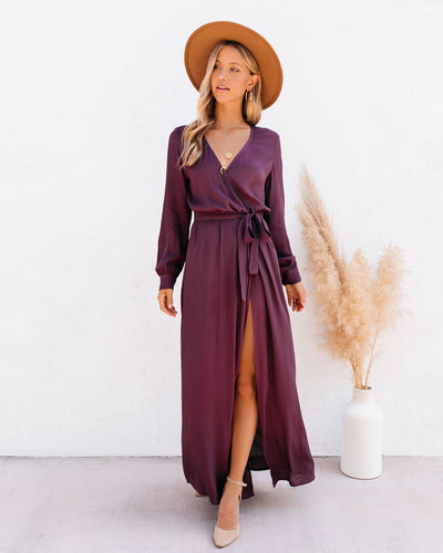 Long Sleeve Solid Bardot Wrap Maxi Dress - Plum
