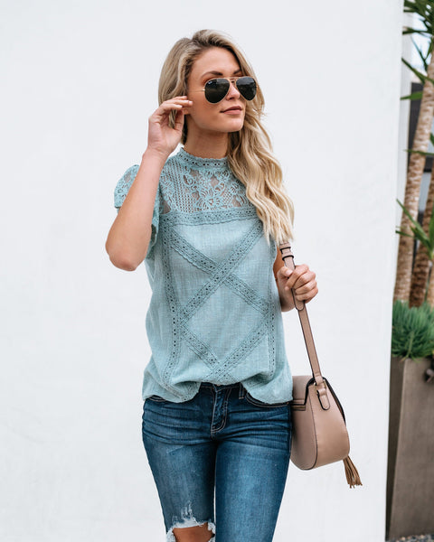 Lyra Lace Top - Seafoam