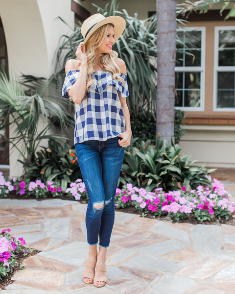 Southern Charm Checkered Top - Navy - FINAL SALE