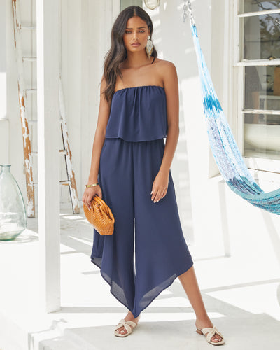 Milos Strapless Pocketed Asymm Jumpsuit