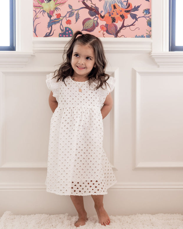 Mini - Hart Cotton Eyelet Babydoll Dress view 3