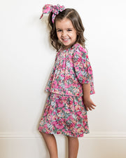 Mini - Layton Floral Puff Sleeve Tiered Dress view 8