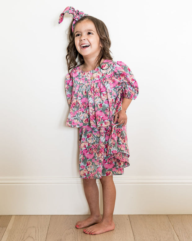 Mini - Layton Floral Puff Sleeve Tiered Dress view 9