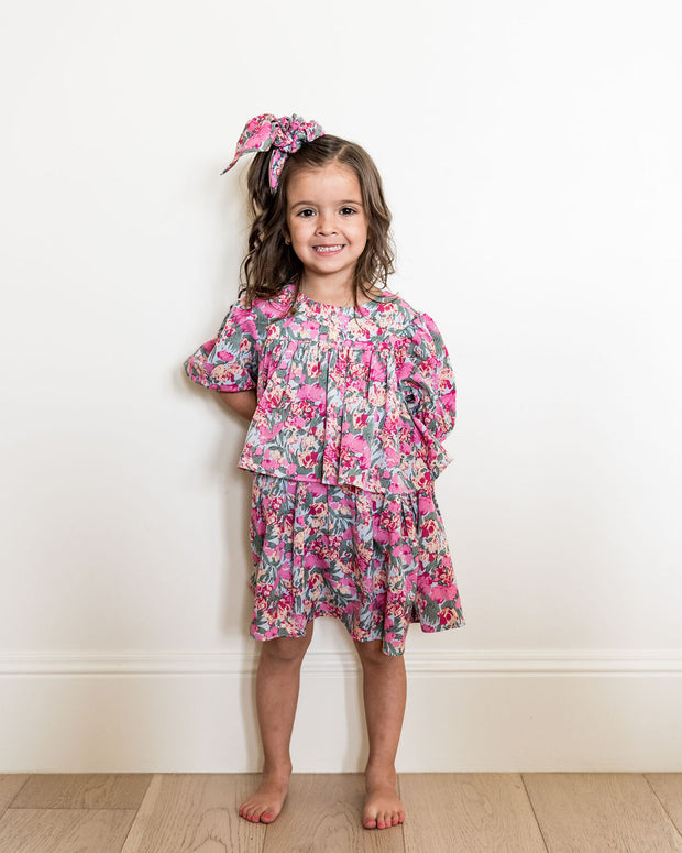 Mini - Layton Floral Puff Sleeve Tiered Dress view 6
