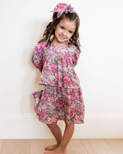 Mini - Layton Floral Puff Sleeve Tiered Dress view 3