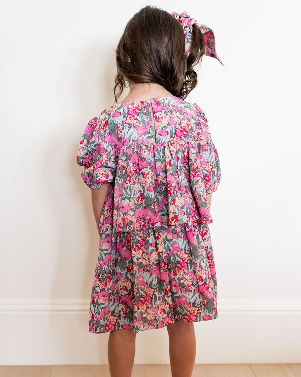Mini - Layton Floral Puff Sleeve Tiered Dress view 2
