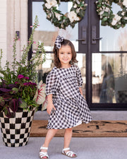 Mini - Winifred Puff Sleeve Gingham Babydoll Dress view 7