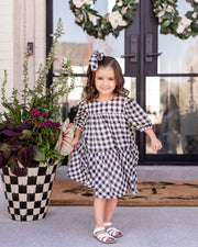 Mini - Winifred Puff Sleeve Gingham Babydoll Dress view 8