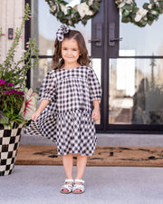 Mini - Winifred Puff Sleeve Gingham Babydoll Dress view 6