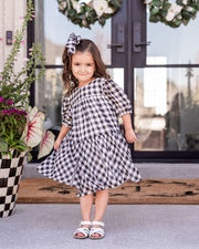Mini - Winifred Puff Sleeve Gingham Babydoll Dress view 2