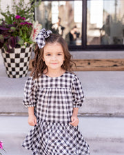 Mini - Winifred Puff Sleeve Gingham Babydoll Dress view 10