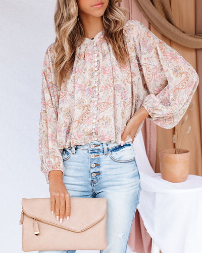 Mojo Paisley Button Down Crop Blouse
