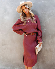 Macie Ribbed Midi Sweater Dress - Brick