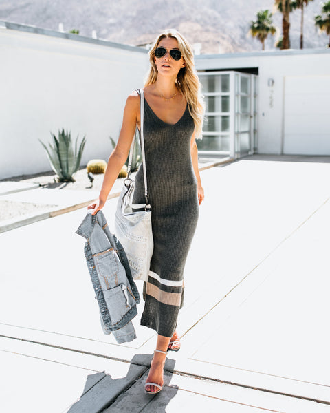 Made You Look Ribbed Dress - Charcoal