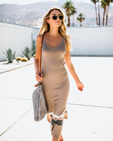 Made You Look Ribbed Dress - Latte - FINAL SALE