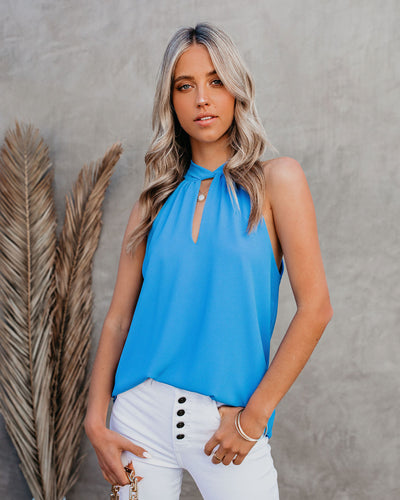 Maisey Keyhole Halter Tank - Clean Blue