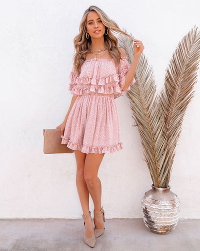 Maison Off The Shoulder Ruffle Dress - Pink