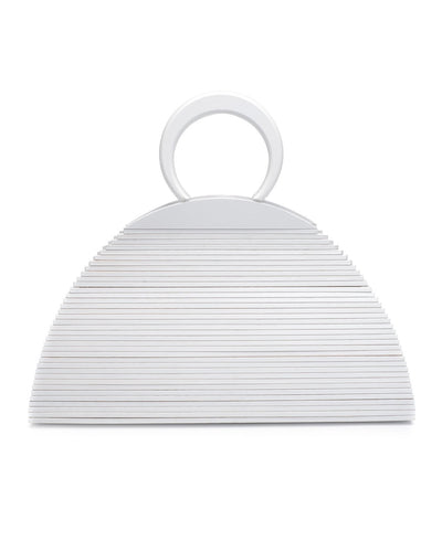 Maldives Wooden Handbag - White