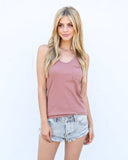 Beverly Cotton Racerback Tank - Rosy Mauve - FINAL SALE