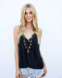 Tassels In Tahiti Layered Necklace - Mocha