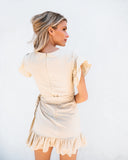 Forevermore Ruffle Wrap Dress - Taupe - FINAL SALE