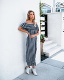 Lead The Way Off The Shoulder Striped Jumpsuit - Navy - FLASH SALE