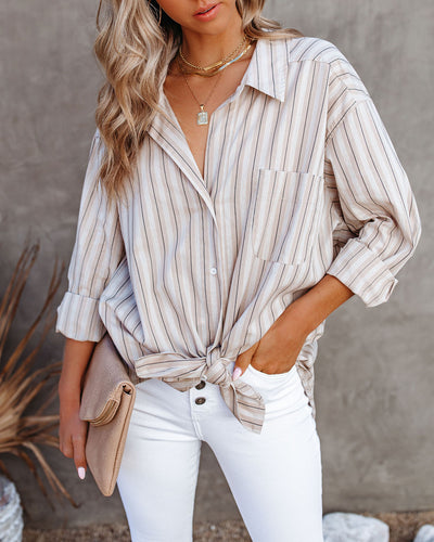 Mayer Cotton Striped Button Down Tie Shirt