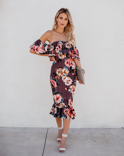 Monet Havana Ruffle Midi Dress