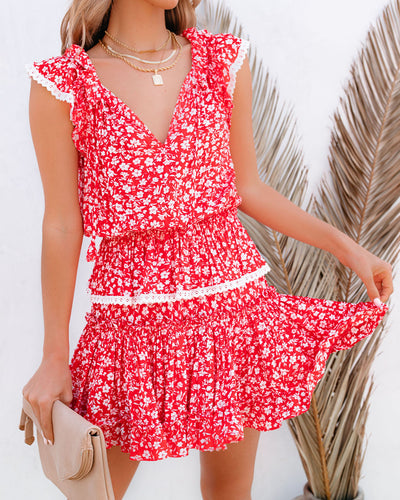 Mood For Dance Floral Swiss Dot Ruffle Dress