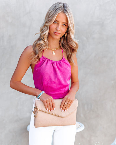Moonstone Satin Halter Crop Top - Fuchsia