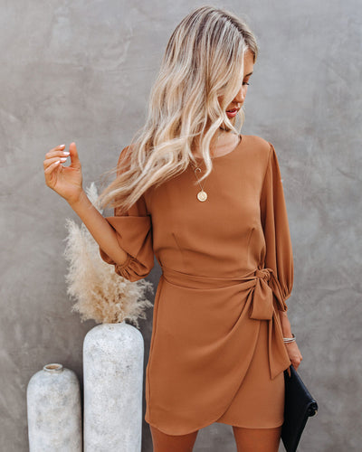 My Honey Tie Dress - Camel