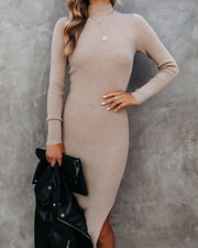 Newtown Mock Neck Knit Midi Dress - Taupe