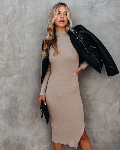PREORDER - Newtown Mock Neck Knit Midi Dress - Taupe