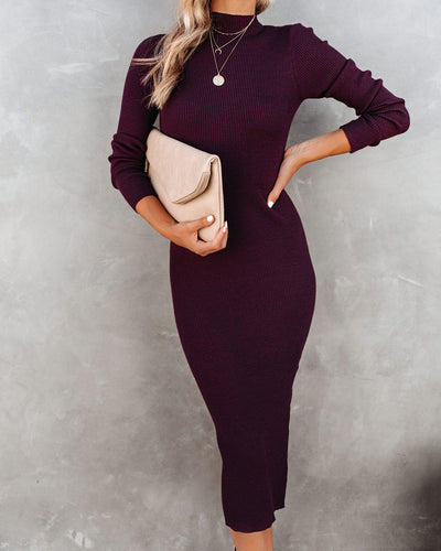 PREORDER - Newtown Mock Neck Knit Midi Dress - Burgundy