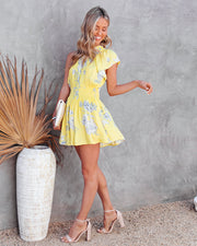 Nicely Done Floral One Shoulder Dress - Yellow view 8