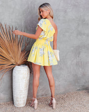 Nicely Done Floral One Shoulder Dress - Yellow view 2