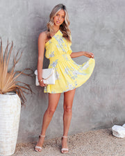 Nicely Done Floral One Shoulder Dress - Yellow view 1