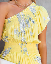 Nicely Done Floral One Shoulder Dress - Yellow view 4