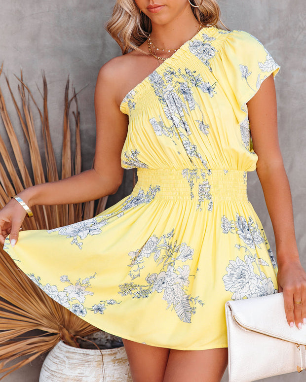 Nicely Done Floral One Shoulder Dress - Yellow view 10