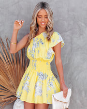 Nicely Done Floral One Shoulder Dress - Yellow view 5