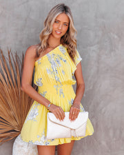 Nicely Done Floral One Shoulder Dress - Yellow view 11