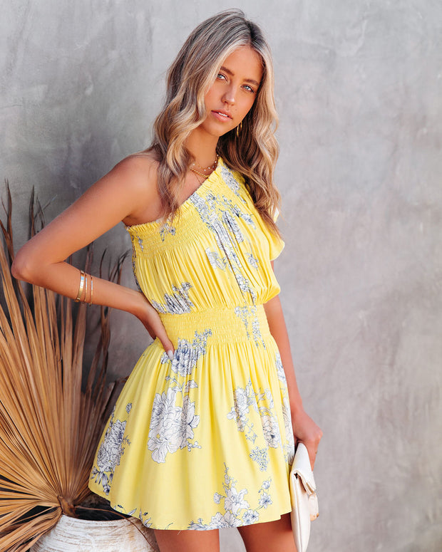 Nicely Done Floral One Shoulder Dress - Yellow view 7