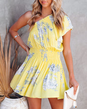 Nicely Done Floral One Shoulder Dress - Yellow view 3