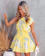 Nicely Done Floral One Shoulder Dress - Yellow view 9