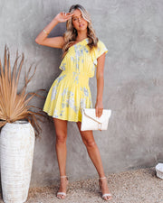 Nicely Done Floral One Shoulder Dress - Yellow view 6