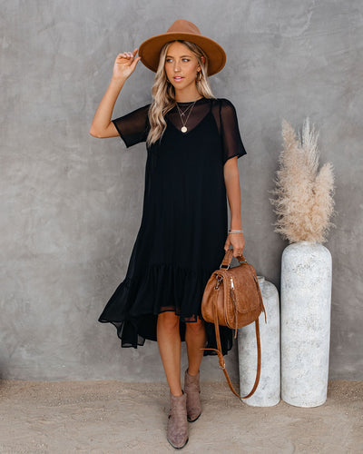 Noir High Low Ruffle Midi Dress