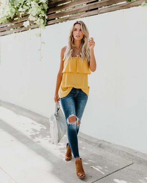 Olae Strapless Top - Mustard