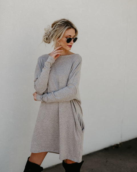 Live In This Pocketed Knit Dress - Oatmeal