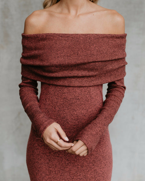 On To You Off The Shoulder Knit Dress - Brick - BEST SELLER