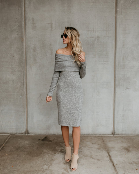 On To You Off The Shoulder Knit Dress - Heather Grey - BEST SELLER